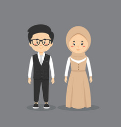 Couple character wearing wedding outfit vector