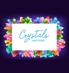 crystals quartz diamond amethyst frame vector image