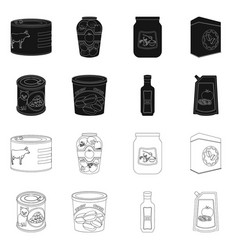 design can and food icon set can and vector image