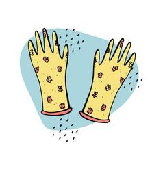 Doodle rubber gloves farming gardening tools vector