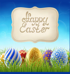 easter background with grass and sign vector image