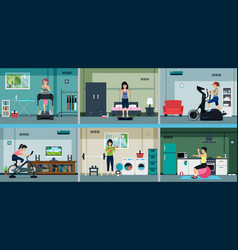 exercise in the home vector image
