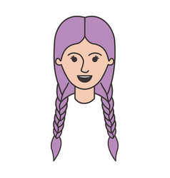 Female face with braided hair in colorful vector