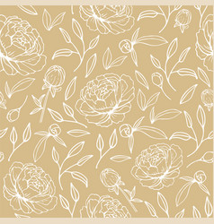 floral seamless pattern with hand drawn peonies vector image