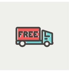 Free delivery van thin line icon vector image