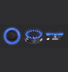 gas burner realistic blue fire stove kitchen vector image