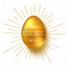golden easter egg with hand painting patterns vector image