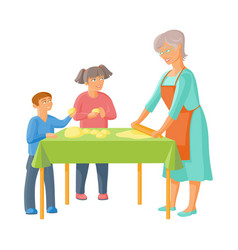 Grandmother and children rolling out dough vector