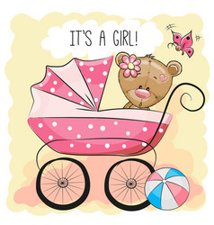 Greeting card it is a girl with baby carriage vector