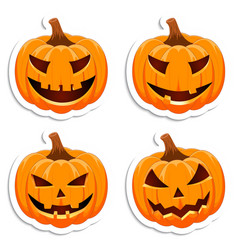 halloween pumpkin set emotion variation simple vector image