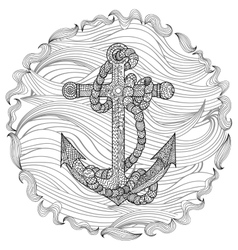 Hand drawn of an anchor and rope vector image