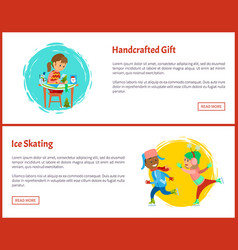 handcrafted gift and ice skating web page samples vector image