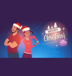 happy couple wearing santa hats man and woman vector image