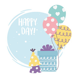Happy day gift box balloons party hat vector