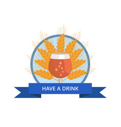 have drink logo with tulip glass of beer on wheat vector image