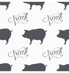 Hipster style pig seamless pattern Pork meat hand vector image