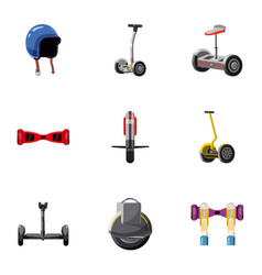 Hoverboard icons set cartoon style vector