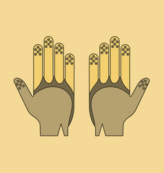 Icon in flat design golf gloves vector