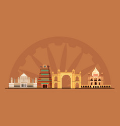 Indian monuments design vector