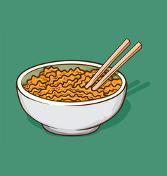 Instant fried noodle and chopstick in white bowl vector