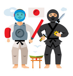Japan sport people flat style colorful vector