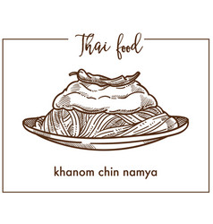 Khanom chin namya on plate from thai food vector