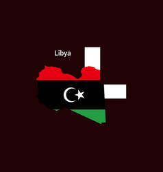 libya initial letter country with map and flag vector image