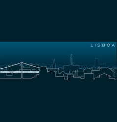 Lisbon multiple lines skyline and landmarks vector