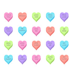 Love candy hearts valentines day treats sweet vector