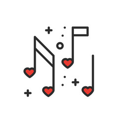 Love music heart notes line icon sign and symbol vector