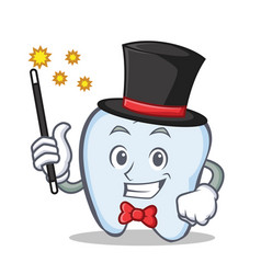 magician tooth character cartoon style vector image