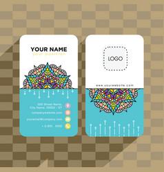 mandala pattern name card template vector image