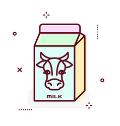 Milk package line icon vector