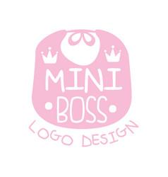 Mini boss logo original design with cute pink bib vector