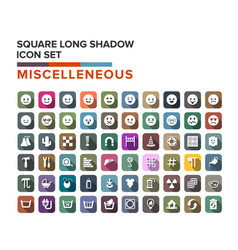miscelleneous and emotion icons long shadow set vector image