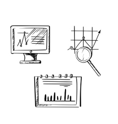 Monitor notebook and business chart sketches vector image