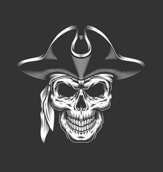 Monochrome pirate skull concept vector
