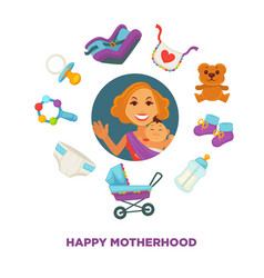 Motherhood baby care happy mother and newborn vector