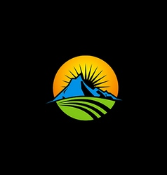 Mountain icon nature sun logo vector