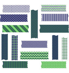 Navy Green Washi Tape Graphics set vector
