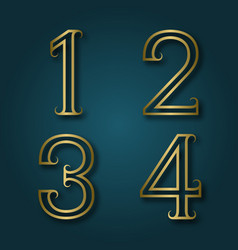 One two three four shiny golden numbers with vector