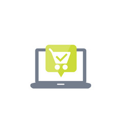 Online order purchase icon with shopping cart vector