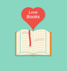 open book with a bookmark and heart vector image