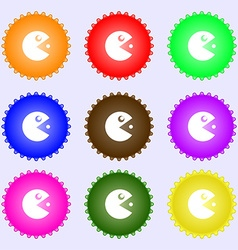 pac man icon sign Big set of colorful diverse vector image