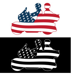 patriotic american flag touring motorcycle vector image