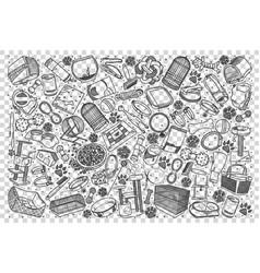 pets shop doodle set vector image