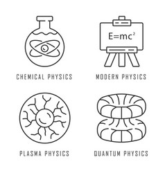 Physics branches linear icons set chemical modern vector