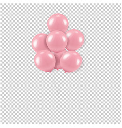Pink balloons bouquet transparent background vector