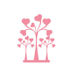 pink trees heart delicate decorative vector image