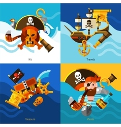 Pirates 2x2 Design Concept Set vector image